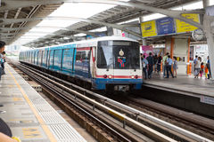 BANGKOK,THAILAND-JULY 5 ,2015 :BTS railway stoped for transit pe Stock Photos