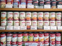 BANGKOK, THAILAND - JULY 22: Cans of imported Baxters and Campbe. Ll`s soup stocked on the shelf of Foodland supermarket in the imported food section in Bangkok stock photo