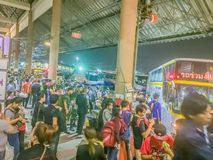 Bangkok, Thailand - July 7, 2017: Crowds of people waiting for b. Uses at Mochit bus station during long weekend to go back to their provincial home royalty free stock image