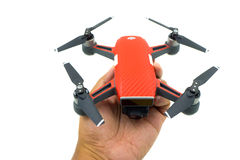 DJI Spark drone start sell in Thailand, Spark is a mini drone fr. BANGKOK , THAILAND - JULY 29 , 2017 : DJI Spark drone start sell in Thailand, Spark is a mini royalty free stock image