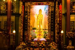 Bangkok, Thailand - July 22, 2017: The goddess of Compassion and Mercy Statue now sits in the Kuan Yim Shrine within China Town royalty free stock photography
