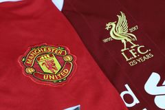 BANGKOK, THAILAND - JULY 12, : The Logo of Liverpool and Manchester United on Football Jerseys on July 12,2017 in Bangkok