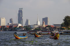 Bangkok,Thailand -  25 july 2010: Long Boats on Chao Phraya river Royalty Free Stock Photography