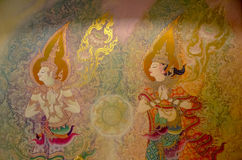 BANGKOK ,THAILAND - 9 JULY 2014 : masterpiece of traditional Thai mural style paintingin on the wall of church of Wat Rama 9 Kan. Chana Pisek Buddhism Temple royalty free stock photography