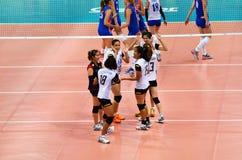 Bangkok, Thailand - July 3, 2015: Thai players celebrates a Thailand point at Indoor Stadium Huamark Royalty Free Stock Image