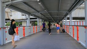 Train connection path At Mo Chit Station, Bangkok. Bangkok - Thailand, 16 July 2019 : Train connection path At Mo Chit Station, Bangkok stock footage
