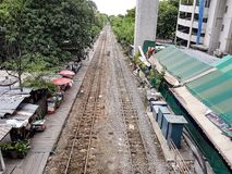 Train rails in Bangkok. stock photos