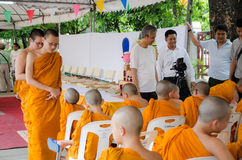 BANGKOK ,THAILAND - 9 JULY 2014 : Unknown monks in Buddhism stud Stock Photography