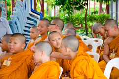 BANGKOK ,THAILAND - 9 JULY 2014 : Unknown young novice monks in royalty free stock photography