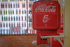 BANGKOK, THAILAND - July 1, 2017: Vintage machine of coin operated Coca Cola bottle vending machine.  stock photo