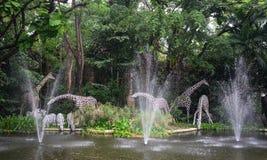 Fountain at the gate of Bangkok zoo. Bangkok, Thailand - Jun 16, 2016. Fountain at Safari World in Bangkok, Thailand. The park is a tourist attraction, was stock photos