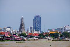 BANGKOK, THAILAND - 2 JUN 2017, Standing on the Chao Phraya rive Stock Photography