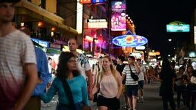 Bangkok, Thailand - Jun 9, 2019 : Tourists and backpackers visited at Khao San Road night market.  stock footage