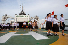 BANGKOK THAILAND-Jun 27:Unidentified young student walking on the esperanza ship of greenpeace  international environmental organi Royalty Free Stock Images