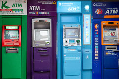 BANGKOK THAILAND - JUNE 2, 2013:  ATM cash machines of top four Royalty Free Stock Photos