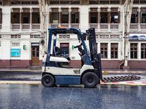 Background of forklifts,truck. Heavy duty equipment stock images