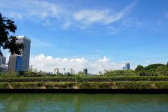 Beautiful nature of blue sky and clouds with buildings and antennas at Benchakitti Park. BANGKOK, THAILAND - JUNE 30, 2018 : Beautiful nature of blue sky and royalty free stock photography