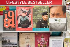 Bangkok, Thailand: books about Thailand Prime Minister Prayut Chan-o-cha next to George Orwell`s dystopias