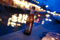 bottle of cold Leo beer on dark brown stock photography