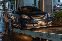 Car crash from car accident on the road. Bangkok, Thailand - June 21, 2017 : Car damaged crash from car accident on the road wait insurance in a city collision royalty free stock image