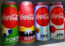 Bangkok, Thailand-June 16: Coke Can Fifa Limited Edition Packs Bearing National Flags. stock photo