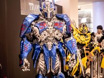Bangkok, Thailand - June 15, 2017: Fictional characters of Transformers: The Last Knight. It is the fifth installment of the live-. Action Transformers film stock photo