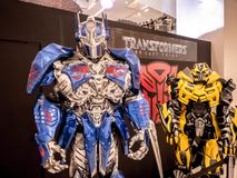 Bangkok, Thailand - June 15, 2017: Fictional characters of Transformers: The Last Knight. It is the fifth installment of the live-. Action Transformers film stock photography