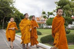 BANGKOK THAILAND - JUNE 7,2017 : group of thai novice monk walki Stock Images