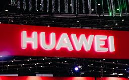 Bangkok, Thailand - June 02, 2019 : Huawei logo in Thailand Mobile Expo 2019 , Huawei is chinese company. Huawei was banned using stock image