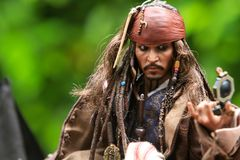 Johnny Depp as the Captain Jack Sparrow model figure 1/6 scale stock photo