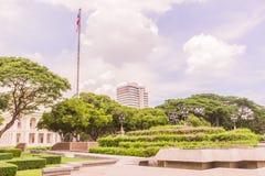 Bangkok, Thailand - June 5, 2016: King Chulalongkorn and King Va. Jiravudth (Rama V and VI) statue at front of University with background of Faculty of Stock Photography