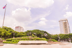 Bangkok, Thailand - June 5, 2016: King Chulalongkorn and King Vajiravudth (Rama V and VI) statue. At front of University with background of Faculty of Stock Images