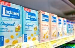 BANGKOK, THAILAND - JUNE 03, 2019: Lactasoy Soy Milk Cartons on the Shelf of Supermarket royalty free stock photography