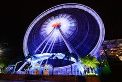 Bangkok,Thailand - June 21 2014:Lights of the Ferris wheel at night. Bangkok,Thailand - June 21 2014:Lights of the Ferris wheel at night at ASIATIQUE The Stock Image