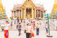 Bangkok, Thailand - June 5, 2016 : A lot of tourists at the Emerald Buddha temple or `Wat Pra Kaew`. It is well-known destination Stock Photo