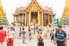Bangkok, Thailand - June 5, 2016 : A lot of tourists at the Emerald Buddha temple or `Wat Pra Kaew`. It is well-known destination Royalty Free Stock Images