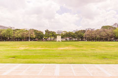 Bangkok, Thailand - June 5, 2016: Main grass field of Chulalongkorn university view facing to Prayathai road. It is normally used. For may activities in royalty free stock photography