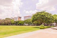 Bangkok, Thailand - June 5, 2016: Main grass field of Chulalongkorn university. View facing to Faculty of Science Stock Images