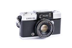 BANGKOK, THAILAND - June 29, 2019 : Olympus pen d3 vintage film camera isolated on white background.  royalty free stock images