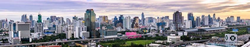 Bangkok, Thailand - June 10, 2011: Panorama view of early evening Petchaburi Rd. with Makkasan BRT railway station stock photos