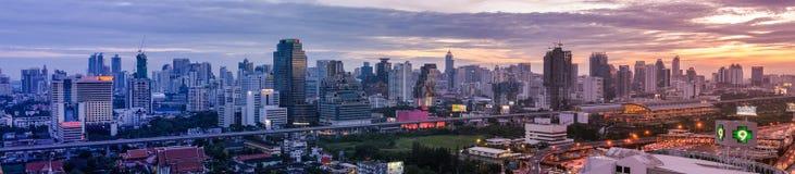Bangkok, Thailand - June 10, 2011: Panorama view of evening Petchaburi Rd. with Makkasan BRT railway station royalty free stock photo