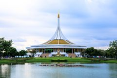 Ratchamangkhala Pavilion at public park name Suan Luang Rama IX on sunset or evening time Bangkok, Thailand. Bangkok, Thailand. - June 17, 2017 Royalty Free Stock Photos