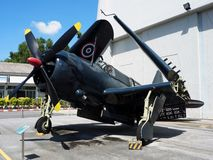Dive bomber aircraft Curtiss SB2C-5 Helldiver. BANGKOK, THAILAND - JUNE 5, 2018: Royal Thai Air Force museum displays dive bomber aircraft Curtiss SB2C-5 stock image