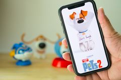 Bangkok, Thailand - June 2, 2019 : The Secret Life of Pets 2 movie is an American 3D comedy film produced by Illumination Entertai. Nment. Poster show cinema on royalty free stock image