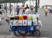 Street Vendor Cart selling ice fruit juices Royalty Free Stock Photography