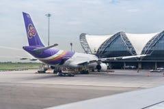 Thai Airlines Airplane in New Bangkok International Airport Suvarnabhumi Royalty Free Stock Photo