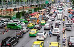 BANGKOK, THAILAND - JUNE 29: Traffic jams and stuck on Ratchadamri Road in Bangkok on June 29, 2019 stock image