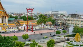 Time lapse Giant swing landmark of bangkok city in sunset time. Bangkok , Thailand - 13 June, 2019 : Zoom out Time lapse Giant swing landmark of bangkok city in stock video footage