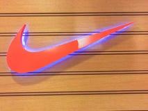 Bangkok Thailand - Juni 10, 2017: Nike logo Nike är en av t Arkivbild