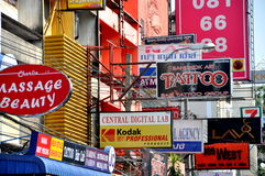 Bangkok, Thailand: Khao San Road Signs Royalty Free Stock Image